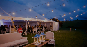 Wedding Marquee with festoon lighting